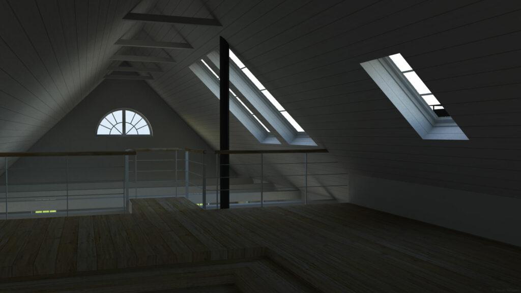©Jonas Nilsson. 3D grafik. Arkitektur. Trelängad korsvirkesgård. Interiör: ovanvåning.