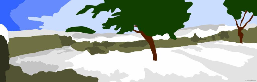 ©Jonas Nilsson. Egen illustration. Snölandskap. Grafisk formgivning av Jonas Nilsson