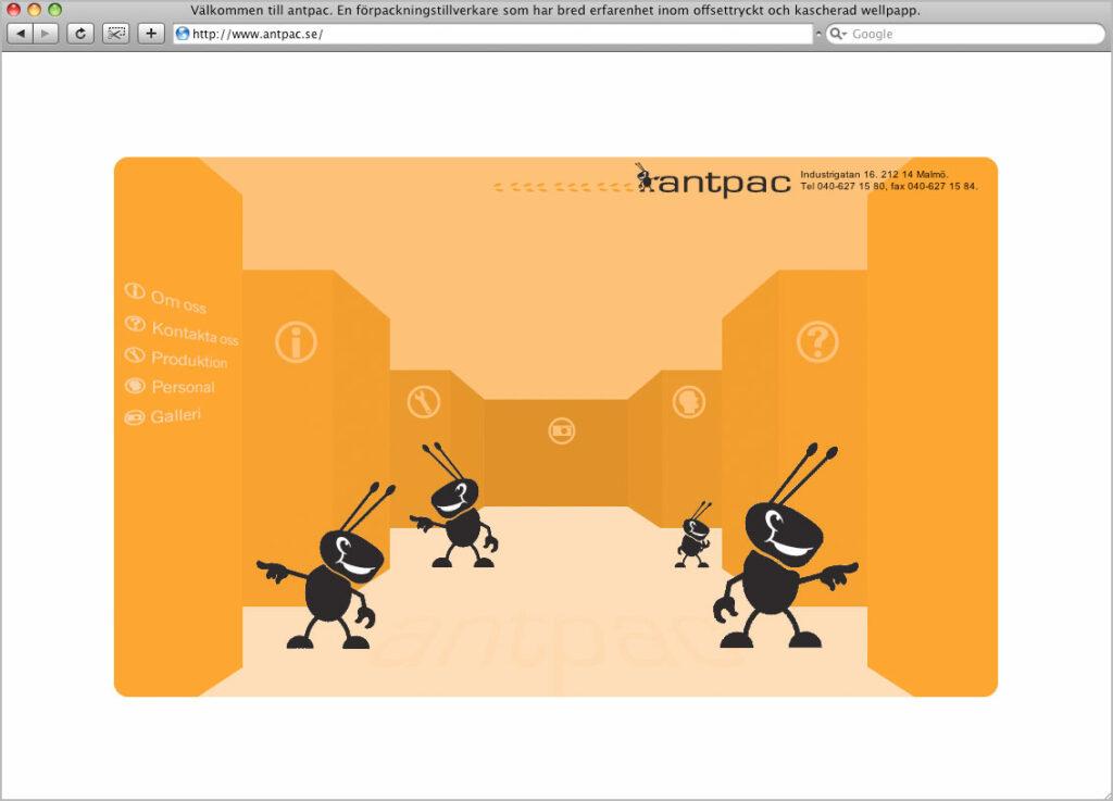 ©Antpac. Websida. Webproduktion av Jonas Nilsson.
