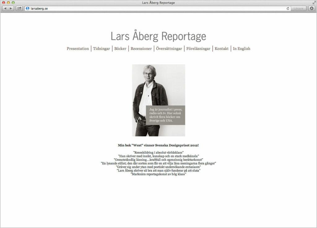©Lars Åberg. Websida. Webproduktion av Jonas Nilsson.