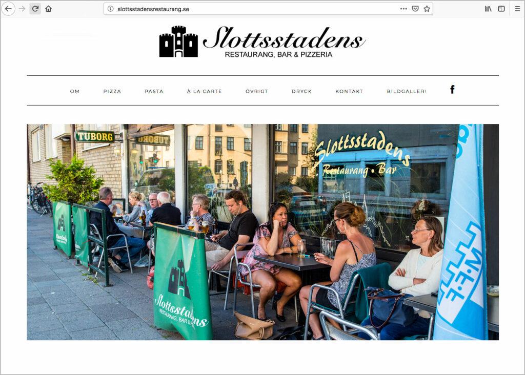 ©Slottsstadens restaurang. Websida. Webproduktion av Jonas Nilsson.